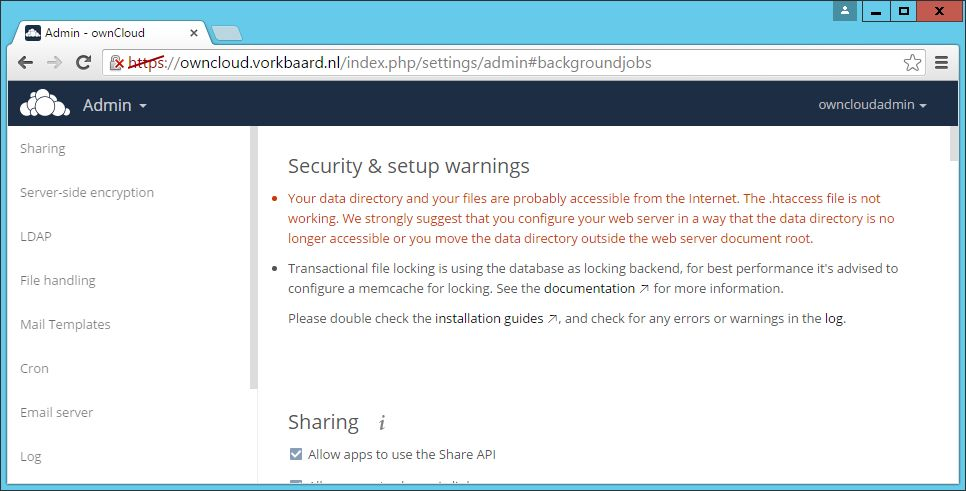 Data directory and .htaccess file security warning