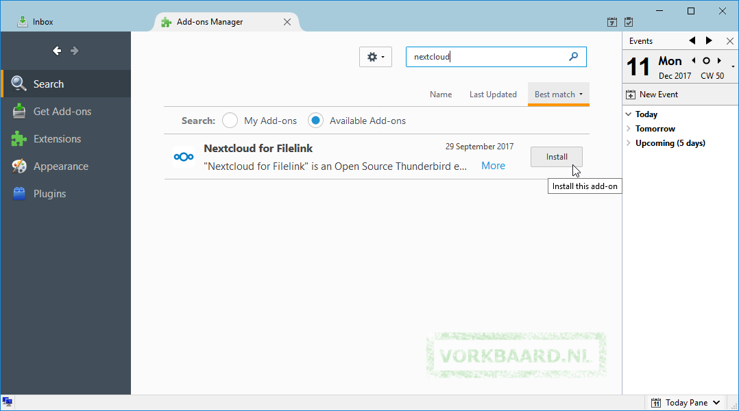 Automatically create Nextcloud links for attachments in